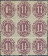 Schleswig-Holstein - Marken Und Briefe: 1867: 1¼ Sch. Mittellila, NEUNERBLOCK, Postfrisch, Minimale Stockpün