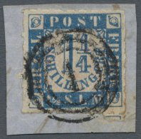 """Schleswig-Holstein - Marken Und Briefe: 1864, 1 1/4 S. Mittelblau/weißrosa Mit Dänischen Dreiring-Stempel """"1"""""""
