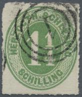 """Schleswig-Holstein - Marken Und Briefe: 1864, 1 1/2 S. Dunkelgelblichgrün Mit Dänischem Dreiring-Stempel """"1"""" ("""