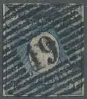 """Schleswig-Holstein - Marken Und Briefe: 1850, 1 S Mittelblau Mit Glasklarem Zentrischem Rostrundstempel """"19"""" (Kieler Bah"""