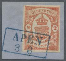 Oldenburg - Marken Und Briefe: 1861, 2 Gr. Rotorange, Sehr Farbfrisch Und Allseits Voll- Bis Breitrandig Mit Glasklarem