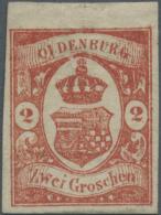 Oldenburg - Marken Und Briefe: 1861, 2 Groschen Schwärzlichrotorange Als Ungebrauchtes Einzelstück Vom Oberran