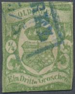 """Oldenburg - Marken Und Briefe: 1861, 1/3 Gr. Blaugrün, Plattenfehler """"o"""" Statt """"el"""" In Drittel, Fotobefund Berger B"""
