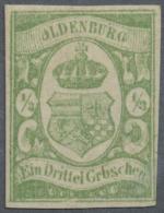 Oldenburg - Marken Und Briefe: 1861, 1/3 Gr. Dunkelgelblichgrün, Ungebraucht Mit Gummi (wohl Neugummi), Farbfrische