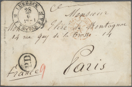 "Lübeck - Stempel: ""LUEBECK F.TH.u.TAX.P.A. 28/6 1855"" K2 Auf Couvert Mit K1 ""P.D."" Und Roter Hds. Taxe ""9"" Nach Par"