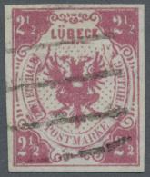 Lübeck - Marken Und Briefe: 1859, 2 1/2 S. Mittelmagenta, Farbfrisch Und Allseits Breitrandig Mit Klarem Fünfs