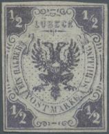 """Lübeck - Marken Und Briefe: 1859, 1/2 Schilling Ungebraucht Ohne Gummi Mit Befund Mehlmann BPP """"echt, Vollrandig, R"""