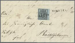 """Hannover - Langstempel: """"NOERTEN"""" Schwarzer L1 Und Hds. """"8/12"""" Auf Kabinett-Faltbrief (innen Datiert 1850) Mit Breitrand"""