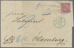 """Hannover - Kreisstempel: """"LEER 9/3 (1861)"""" Blauer Hannover-K2 Auf Brief Mit PREUSSEN Marke 1858, 1 Sgr. Rosa !! -Eine Fa"""