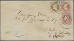Hannover - Marken Und Briefe: 1864, 3 Gr. Braun Und 2 Einzelwerte 1 Gr. Lebhaftrotkarmin Durchstochen Je Mit Blauem DKr.