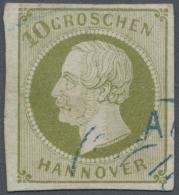"""Hannover - Marken Und Briefe: 1861, 10 Groschen Grünlicholiv, Teilstempel """"CLAUSTHAL 1"""", Einriss Links Repariert, F"""