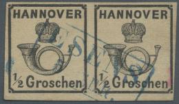 Hannover - Marken Und Briefe: 1860, 1/2 Gr. Schwarz Als Gestempeltes, Waagerechtes Paar Mit Blauem Ra 2. Rs. Rosa Signum