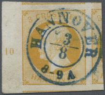 Hannover - Marken Und Briefe: 1859, Freimarke König Georg V. 3 Gr Gelborange, Links Mit Randnummer 10, Extrem Breit