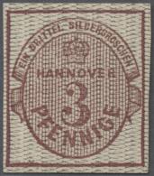 Hannover - Marken Und Briefe: 1856, 3 Pf. Rötlichkarmin Als Essay/Probedruck Mit Engem Statt Weitem Grauem Netzwerk
