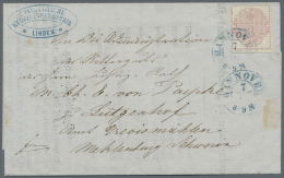 """Hannover - Marken Und Briefe: 1856, 3 Pfennig Rosa Graues Weites Netzwerk Als  Einzelfranaktur Mit Blauem K2 """"HANNOVER 7"""