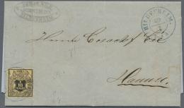 Hannover - Marken Und Briefe: 1855, 1/10 Thaler Mit Engem Orangen Netzwerk Als Vollrandige Einzelfranaktur Mit Blauem K2