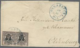Hannover - Marken Und Briefe: 1851/56, Vier Briefe: 1856 Mehrfachfrankatur 1/30 Th. Schwarz/Netzwerk Tiefkarmin, Oben Et