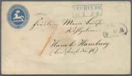 """Hamburg - Besonderheiten: Incoming Mail: 1855 (ca.), Braunschweig 2 Sgr. Ganzsachenumschlag Aus """"VECHELDE 13.4."""" Nach Ha"""
