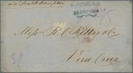 """Hamburg - Stempel: 1860, Markenloser Überseebrief: Schmetterlingsstempel """"HAMBURG / 28 DEC 1860"""" In BLAU! Auf Brief"""