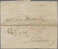 """Hamburg - Stempel: 1817, Vorphilabrief Nach London Mit Dem Seltenen Roten """"Turmstempel"""" Von Hamburg.  Waagerechter Bug D"""