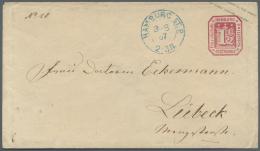 Hamburg - Ganzsachen: 1866, GA-Umschlag 1 1/2 Sch. Karmin Mit Blauem K2 HAMBURG ST. P. / 3.8.67 Nach Lübeck, Einwan