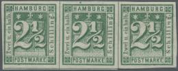Hamburg - Marken Und Briefe: 1864, 2 1/2 S. Dunkelgrün, Ungebrauchter Waagerechter Dreierstreifen, Kleine Anhaftung