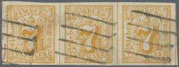 Hamburg - Marken Und Briefe: 1859, 7 S Gelborange Im Breitrandigen Waagrechten Dreierstreifen Mit Je Zentrischem 4-Stric