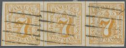 Hamburg - Marken Und Briefe: 1859, Waagrechter Dreierstreifen 7 S Orange Je Mit 4-Strich Stempel Entwertet, Farbfrisch U