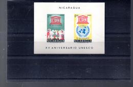NICARAGUA BLOC 98**  SUR LE 15E ANNIVERSAIRE DE L UNESCO