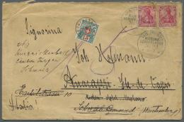 """Deutsche Kolonien - Kiautschou - Besonderheiten: 1913, """"KDMS No. 22"""" K1 Auf Versiegeltem Bedarfsbrief Frankiert Mit 2x 1"""
