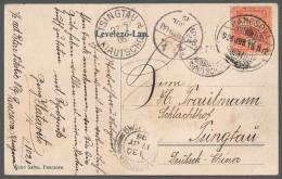 """Deutsche Kolonien - Kiautschou - Besonderheiten: INCOMING MAIL: 1906, Postkarte Aus """"PANCSOVA 16.6."""" Mit 10"""