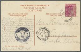 "Deutsche Kolonien - Kiautschou - Besonderheiten: 1905, Incoming Mail, Ceylon: KEVII 6 C. Tied ""COLOMBO FE 18 05"" Via Hon"