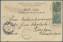 """Deutsche Kolonien - Kiautschou - Besonderheiten: 1904, Incoming Mail, Ppc """"Penang""""  With UK KEVII 1/2 D. Tied """"ADEN 22 J"""