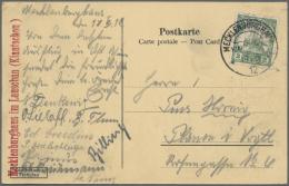 """Deutsche Kolonien - Kiautschou - Stempel: """"MECKLENBURGHAUS KIAUTSCHOU 19.5."""" 1912 Auf AK """"Tai Tsching Kung"""" Mit 2 Cents"""