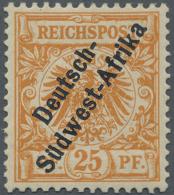 """Deutsch-Südwestafrika: 1901, 25 Pf Freimarke """"Krone/Adler"""" Mit Schwarzem Buchdruck-Aufdruck. Ungebrauchtes Exemplar"""