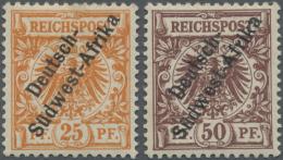 """Deutsch-Südwestafrika: 1897. 25 Pf Dunkelorange Und 50 Pf Lebhaftrötlich-braun """"Deutsch- / Südwest-Afrika"""