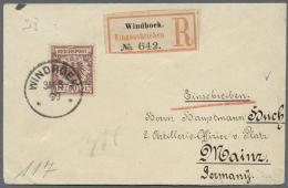 Deutsch-Südwestafrika - Vorläufer: Krone/Adler 50 Pfg. Auf Sauberem R-Brief Nach Deutschland Mit Ankunftsstemp