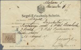 """Deutsch-Ostafrika - Besonderheiten: 1909, (16.8.), Vordruckformular """"Segel-Erlaubnis-Schein"""" (kleiner Abriss Links Unten"""