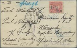 Deutsch-Ostafrika - Besonderheiten: 1910. 25 R Rosa/schwarz ZAMBESIA Mit Blauem Abgangsstempel Und Schwarzem Nebenstempe