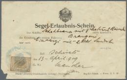 """Deutsch-Ostafrika - Besonderheiten: 1909, (13.4.) Vordruckformular """"Segel-Erlaubnis-Schein"""" (kleiner Eckabriss Links Unt"""