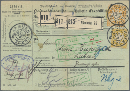 Bayern - Marken Und Briefe: 1907, 2 Mark Wappen Mit 40 Pf. Auf Hübscher Paketkarte Für Drei Pakete Ab NÜR - Bavaria