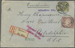 """Bayern - Marken Und Briefe: 1881, 1 M. Rotlila Und 30 Pfg. Wappen Auf Schwerem R-Auslandsbrief Aus """"MÜNCHEN 15.FEB. - Bavaria"""