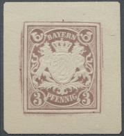 Bayern - Marken Und Briefe: 1876 (ca.), Ungezähnte Proben Der Ganzsachen-Wertstempel Zu 3 Pf., 5 Pf., 10 Pf. Und 20 - Bavaria
