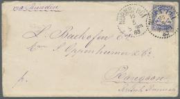 """Bayern - Marken Und Briefe: 1883, 20 Pfg. Ultramarin Auf Brief Von """"NÜRNBERG 15/6 83"""" Nach Rangoon/Britisch Burma, - Bavaria"""
