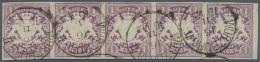 """Bayern - Marken Und Briefe: 1874, 1 Mark Wappenausgabe Mit Wasserzeichen """"Rauten"""" Als Waagerechter Fünferstreifen M - Bavaria"""