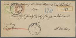 Bayern - Marken Und Briefe: 1873, 9 Kr. Braunorange Und 1 Kr. Gelbgrün Je Mit Wasserzeichen 1 Y Als Portogerechte F - Bavaria