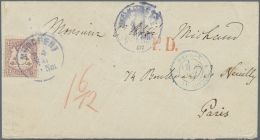 """Bayern - Marken Und Briefe: 1870, 12 Kr. Dunkelbraunpurpur Mit Wasserzeichen 1 X Und Klarem EKr. """"MÜNCHEN 24.MAI(72 - Bavaria"""