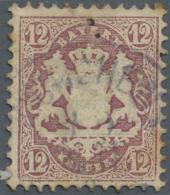 Bayern - Marken Und Briefe: 1870, 12 Kreuzer Mit Wz. 1 X Gestempelt Mit Alterungsspuren Und Bräunungen. Signiert. - Bavaria