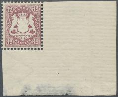 Bayern - Marken Und Briefe: 12 Kr. Riesige Postfrische Pracht-Bogenecke (22-47 Mm), Falzrest Im Rand, Größere - Bavaria