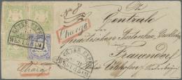 Bayern - Marken Und Briefe: 1870, Wappen 7 Kr. Mattulttramarin Und Dreimal 1 Kr. Grün Zusammen Auf Einschreiben-Vor - Bavaria